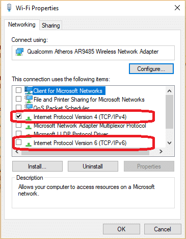 Windows Network Properties
