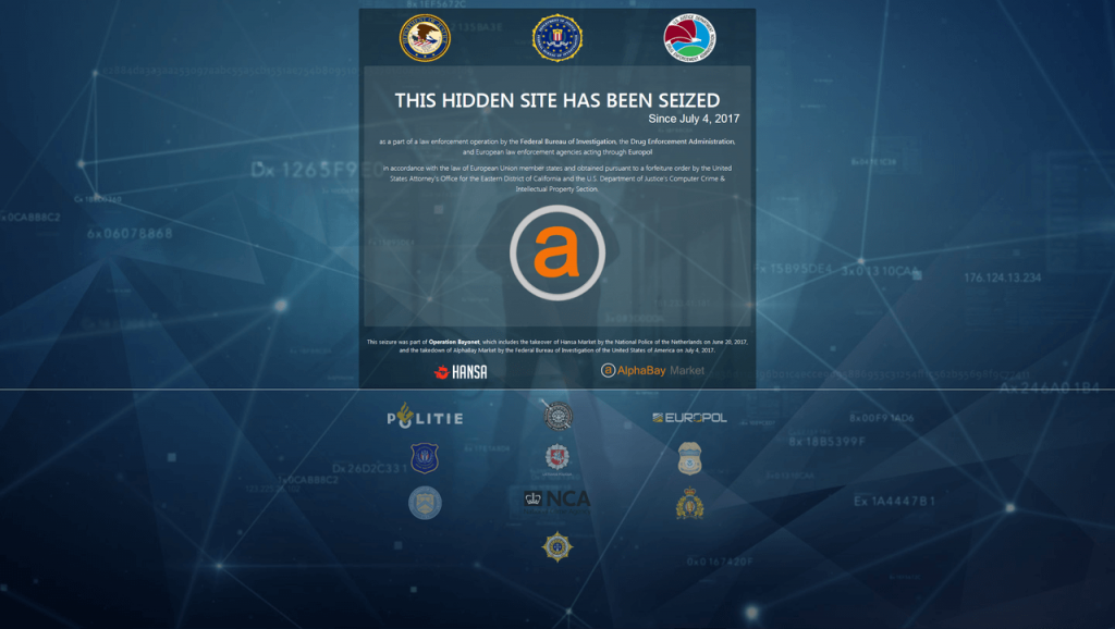 Aseizure notice for the AlphaBay website.
