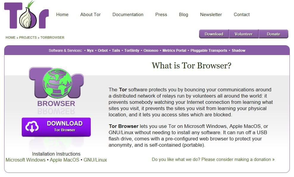 The Tor browser homepage.