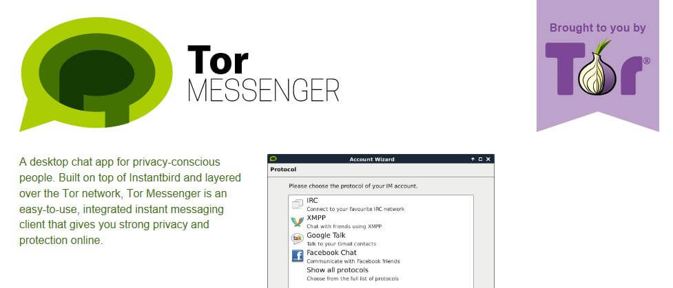 The Tor Messenger homepage.
