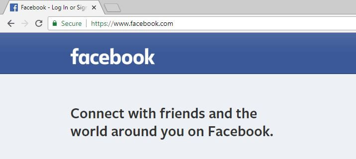 The Facebook site with the lock symbol.