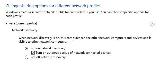 Sharing options in Windows.