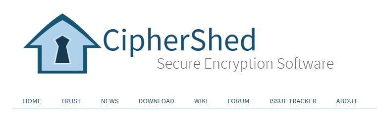 The CipherShed homepage.