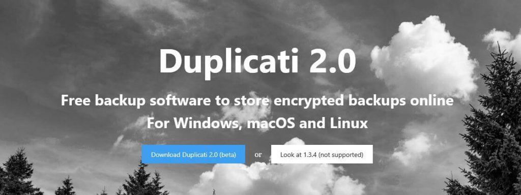 The Duplicati homepage.