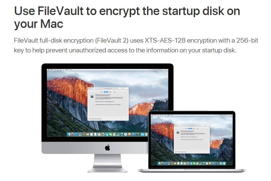 The FileVault homepage.