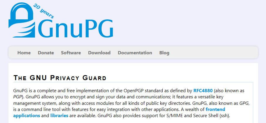 The GnuPG homepage.