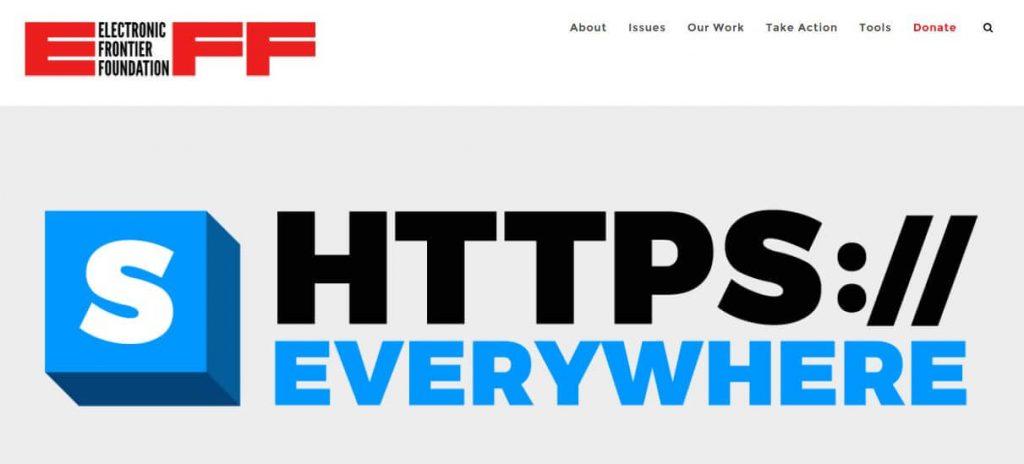 The HTTPS Everywhere homepage.