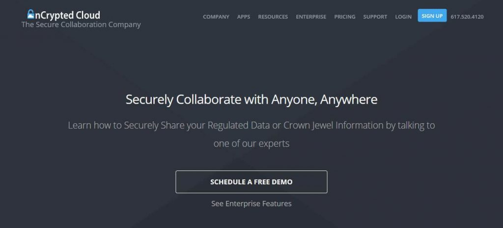 The nCrypted Cloud homepage.
