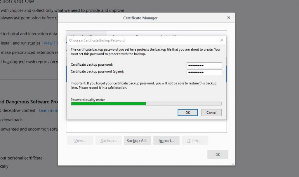 Email encryption certificate password entry screen.