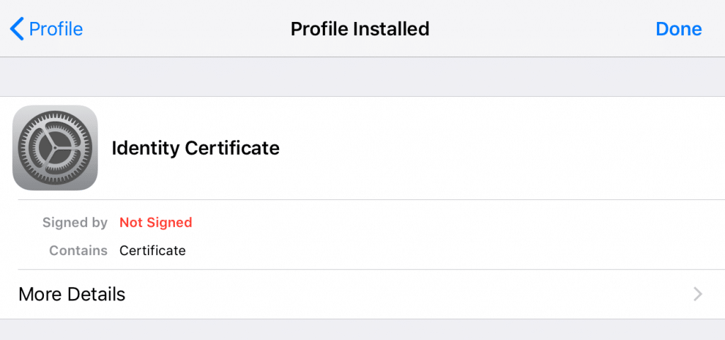 iOS Profile screen.
