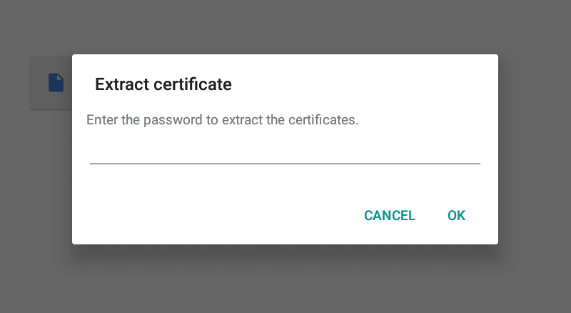 Extract email encryption certificate screen.