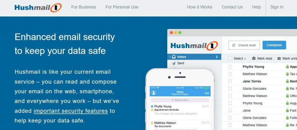 Hushmail email encryption.