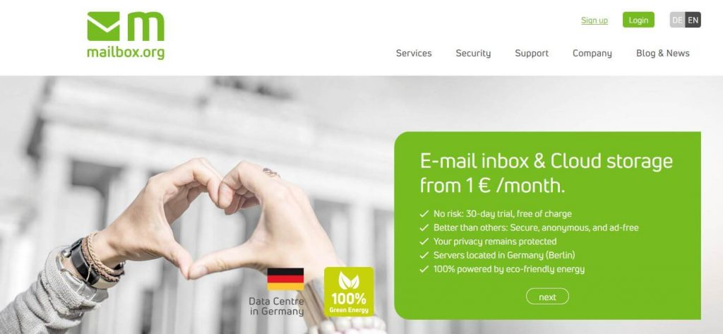 Mailbox email encryption.