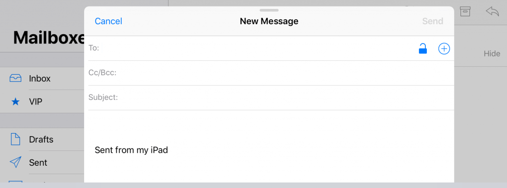 New message window for email encryption in iOS.