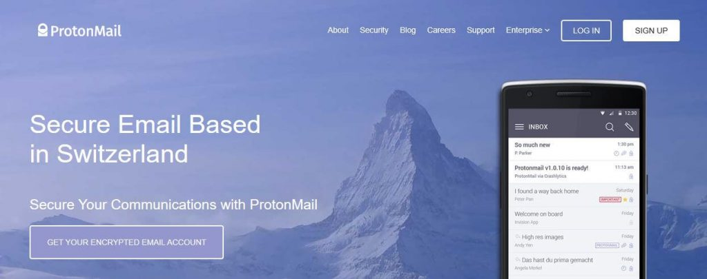 ProtonMail email encryption.