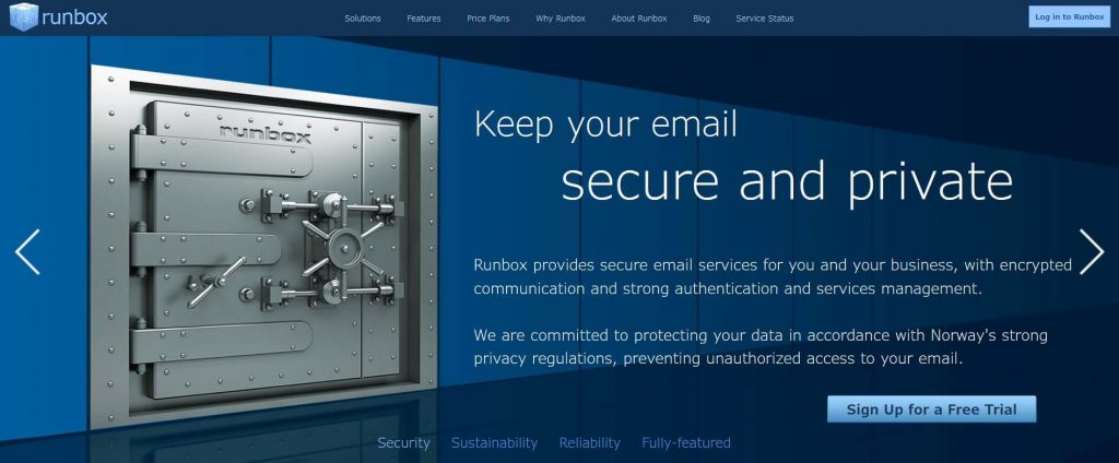Runbox email encryption.