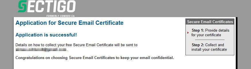 Application for email encryption certificate successful.