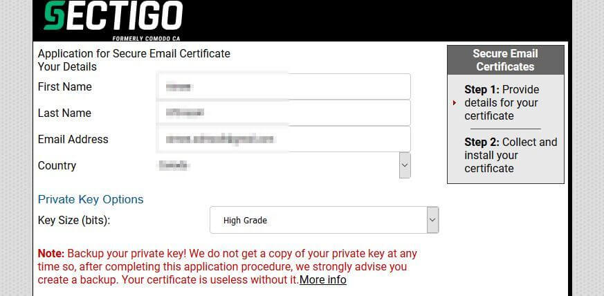 Email encryption Sectigo application.