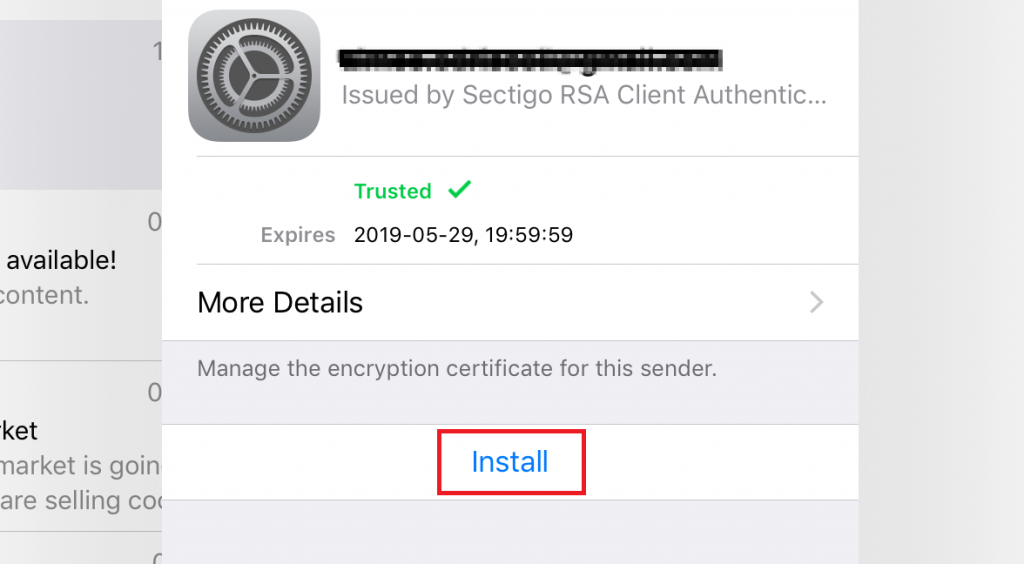 Option to install email encryption certificate for the recipient.
