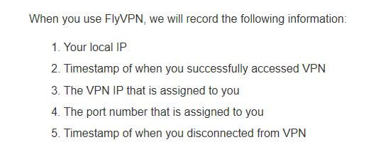 FlyVPN's logging policy.