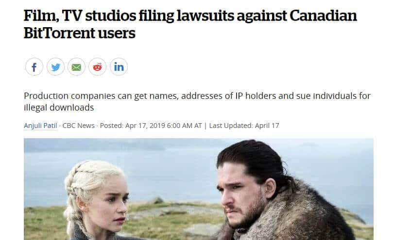 News article about copyright lawsuits in Canada.