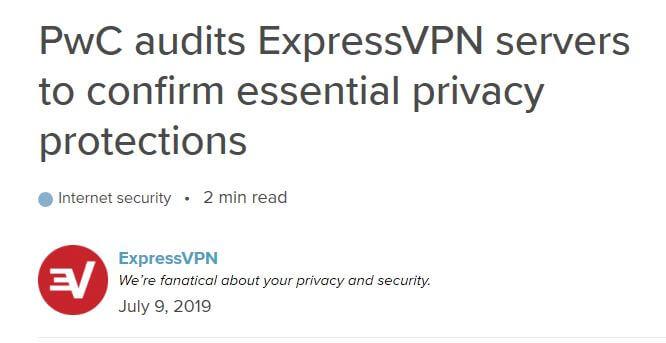 Headline about ExpressVPN's PwC audit.