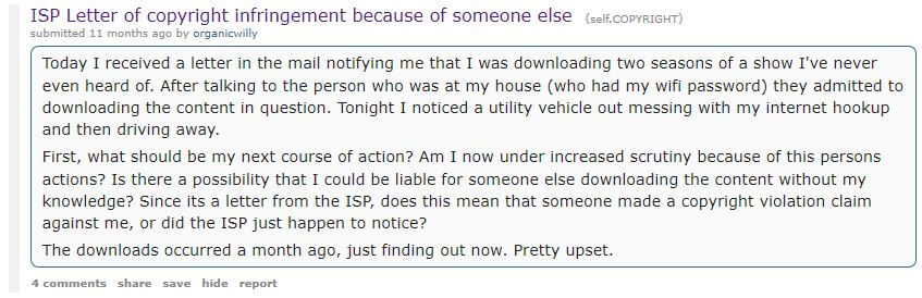 Subreddit about copyright infringement letter.