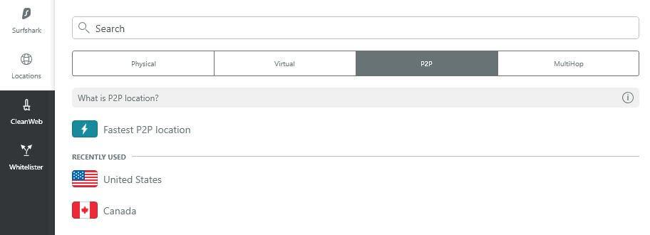 Surfshark P2P server selector.