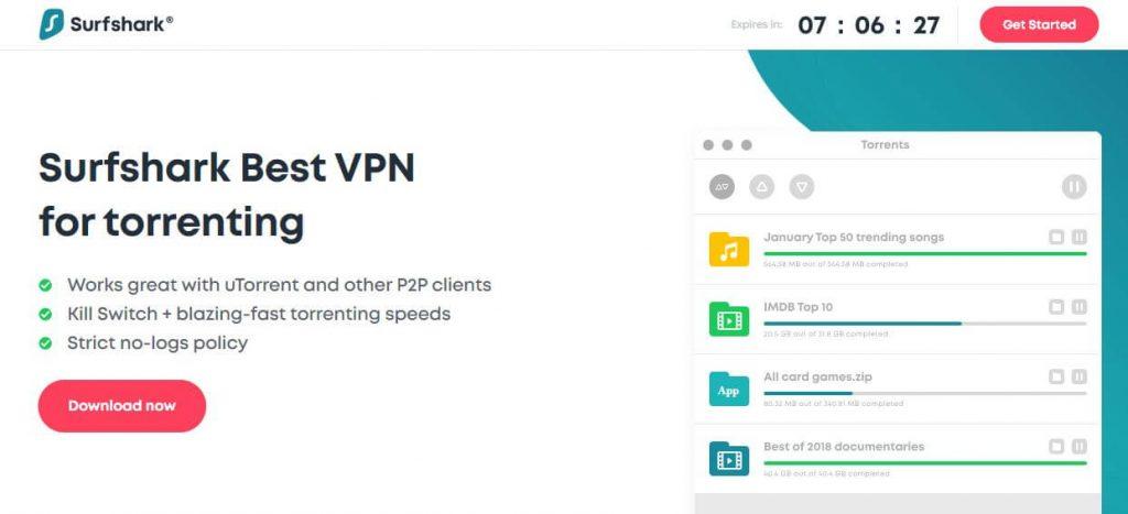 Surfshark torrenting VPN page.