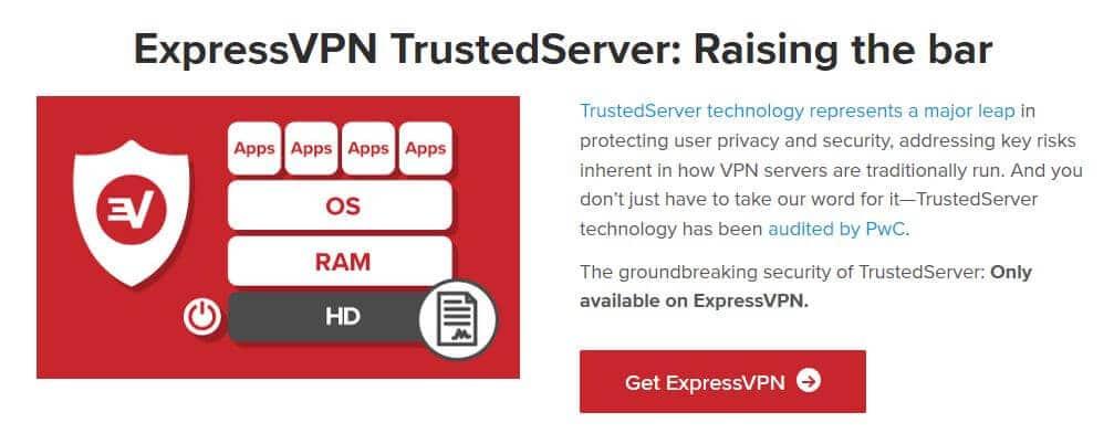 ExpressVPN TrustedServer information.