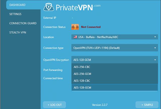 PrivateVPN dashboard